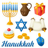 Set of Jewish Hanukkah celebration objects and icons Stock Photo