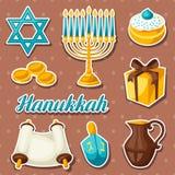 Set of Jewish Hanukkah celebration sticker objects and icons Royalty Free Stock Photos