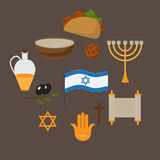 Set of jewish traditional symbols and food, israel religios judaism objects in flat style. Jew culture. David star, minora and anc Royalty Free Stock Photo