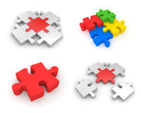 Set of Jigsaw puzzles. 3d illustration Royalty Free Stock Photo