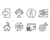 Job interview, Return parcel and Login icons. Payment method, Victory and Target signs. Set of Job interview, Return parcel and Login icons. Payment method Royalty Free Stock Photo