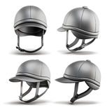Set of jockey helmet for horseriding on a white background. 3d r Stock Image