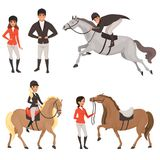 Set of jockeys and horses in different actions. Equestrian sport concept. Cartoon people characters in special uniform Royalty Free Stock Image