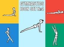 Set joga pozy Chłopiec w rekreacyjnych aktywność ilustracja wektor