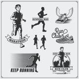 Set jogging i biegać klub etykietki, emblematy i projektów elementy Sylwetki biegacze Fotografia Stock