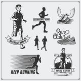 Set of jogging and running club labels, emblems and design elements. Silhouettes of runners. Stock Photography