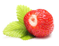 set jordgubbe för leavesmakro Royaltyfri Fotografi