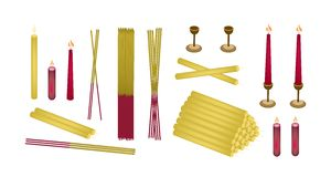 Set of Joss Sticks and Candle for Make Merit. Make Merit Objects, Illustration of Assorted of Candle, Candle Holder and Incense Sticks Isolated on White Royalty Free Stock Photography