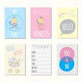Set of journaling cards for newborn baby. Vector templates for scrapbooking, greeting or gift cards, patterns, art decoration royalty free illustration