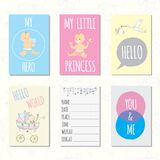 Set of journaling cards for newborn baby. Vector templates for scrapbooking, greeting or gift cards, patterns, art decoration stock illustration