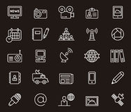 Set of journalism and media icons. Illustrated set of outlined journalism and media icons Royalty Free Stock Images
