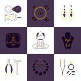 Set jubilera zawodu liniowe ikony Wektorowy pojęcie biżuteria, handmade akcesoria, luksusowe rzeczy Nowożytny cienki kreskowy sty Zdjęcia Stock