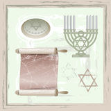 Set of  of judaism symbols. In vintage style Stock Photography