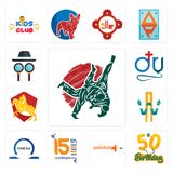Set of judo, 50th birthday, painting company, 15th anniversary, omega, w with arrow, knight on horse, dr., private detective icons. Set Of 13 simple editable Royalty Free Stock Image