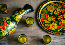 Set of jug and cups - russian style Royalty Free Stock Photos
