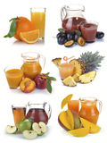 Set jug, glass juice and fruits Royalty Free Stock Image