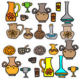 Set of Jugs and cups. Vector illustration Royalty Free Stock Photos