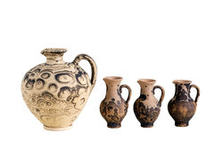 SET JUGS. Pitcher made of clay. capacity for storing wine stock photos