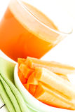 Set with juice and carrots Stock Images