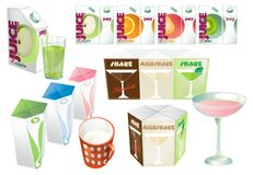 Set of juice, cocktails and milk blank, realistic colorful boxes. Set of juice and milk blank, realistic colorful boxes. Mock-up packages templates with screw Royalty Free Stock Photos
