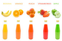 Set  juice with fruits Royalty Free Stock Image