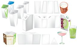 Set of juice, cocktails and milk blank, realistic colorful boxes. Set of juice and milk blank, realistic colorful boxes. Mock-up packages templates with screw Stock Photos