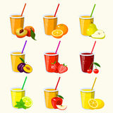 Set with juice, vector illustration