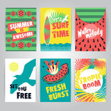 Set of juicy colorful summer greeting cards. Fresh and trendy ve royalty free illustration
