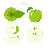 Set of juicy green apple isolated on a white Stock Photography