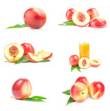 Set of juicy ripe peaches close-up isolated on white background Stock Photo