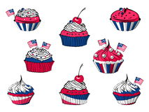 Set of July 4th cartoon cupcakes. Vector set of July 4th cartoon cupcakes, american sweets royalty free illustration