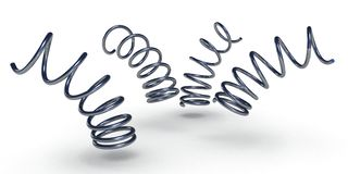 Set of jumping bended metal chrome springs Stock Image