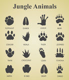 Set of jungle animal tracks Royalty Free Stock Photos