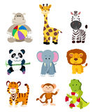 Set of jungle cartoon animals Stock Photos