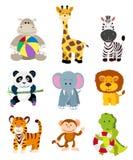 Set of jungle cartoon animals Stock Photos