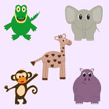 Set of jungly animals Royalty Free Stock Images