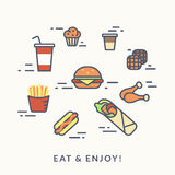 Set of junk food contour icons burger with hotdog Royalty Free Stock Photos