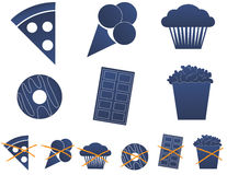 Junk food 1. A set of junk food icons Royalty Free Stock Photos