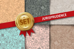 Set of jurisprudence backgrounds with doodle icons Royalty Free Stock Images