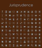 Set of jurisprudence simple icons Royalty Free Stock Images