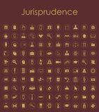 Set of jurisprudence simple icons Stock Photos