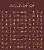 Set of jurisprudence simple icons Stock Photos
