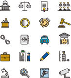 Set of justice and law icons Royalty Free Stock Photos