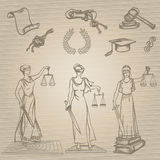 Set of justice or law symbols on brown background. Sketch. Vector illustration. Royalty Free Stock Photos