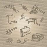 Set of justice or law symbols on brown background. Sketch. Vector illustration. Royalty Free Stock Photography