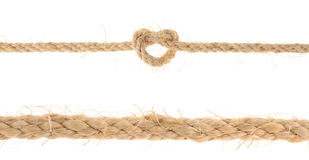 Set of Jute Rope with Reef Knot isolated on white background Stock Photo