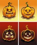 Set Kürbise Tag und Nacht auf Halloween Stockbilder