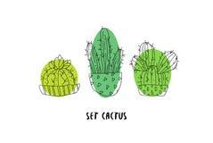 Set kaktusy na białym tle Botaniczna karta Sukulent w doodle stylu wektor Zdjęcia Royalty Free
