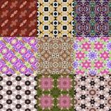 Set of kaleidoscopic seamless generated textures Stock Photography