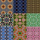 Set of kaleidoscopic seamless generated textures Stock Photos
